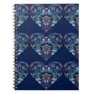 Vintage luxury Heart with blue birds happy pattern Spiral Notebook