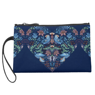 Vintage luxury Heart with blue birds happy pattern Wristlet Purses
