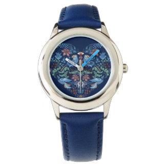 Vintage luxury Heart with blue birds happy pattern Wristwatches