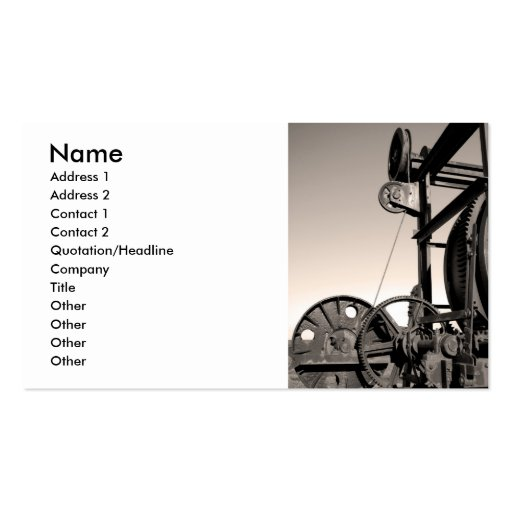 Vintage machinery business cards