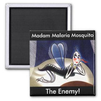 Vintage Madam Malaria Mosquito Square Magnet