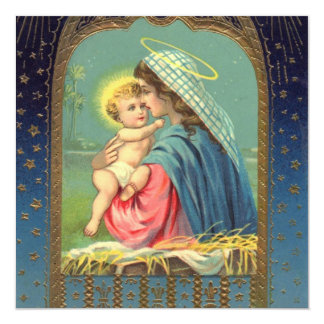 Vintage Madonna and Child Christmas Personalized Invite