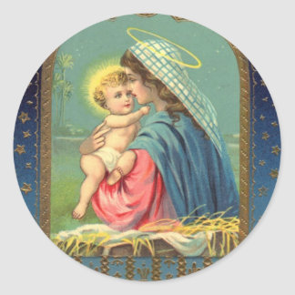 Vintage Madonna and Child Christmas Round Stickers