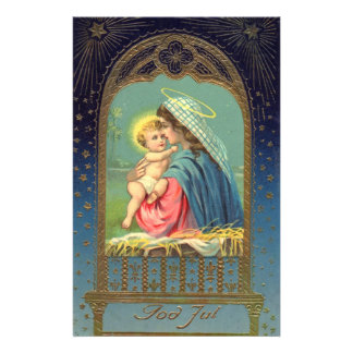 Vintage Madonna and Child Christmas Personalized Stationery