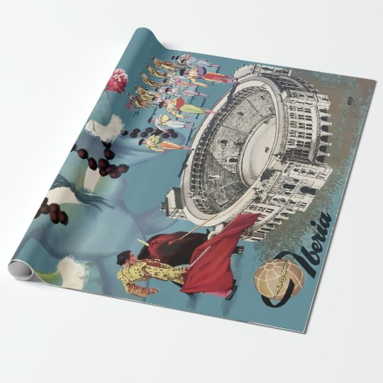 Vintage Madrid Spain Airline Travel Wrapping Paper