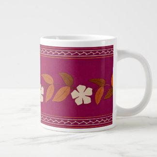 Vintage Magenta Daisy Flowers Trim Jumbo Mug