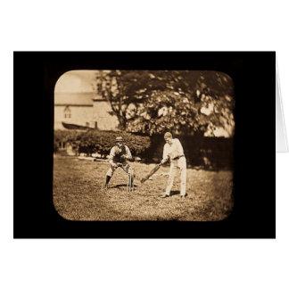 Vintage Magic Lantern Slide Cricket Players Sepia Greeting Card