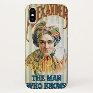 Vintage Magic Poster, Alexander, the Man Who Knows iPhone X Case