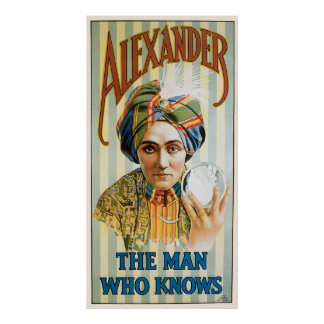 Vintage Magic Poster, Alexander, the Man Who Knows Poster