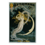 Vintage Magic Poster Art Woman and Moon