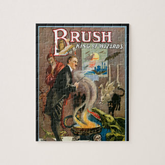 Vintage Magic Poster, Brush, King of Wizards Jigsaw Puzzle
