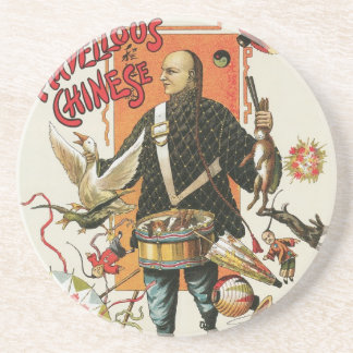 Vintage Magic Poster; Magician Chung Ling Soo Beverage Coaster
