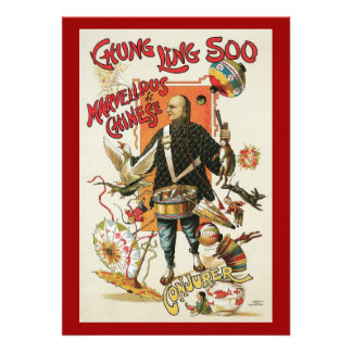 Vintage Magic Poster Magician Chung Ling Soo Custom Invitations