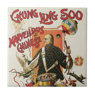 Vintage Magic Poster; Magician Chung Ling Soo Small Square Tile