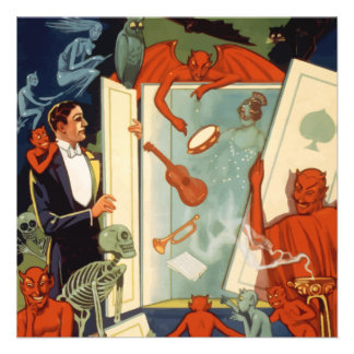 Vintage Magician and Magic Act Halloween Party Personalized Invites