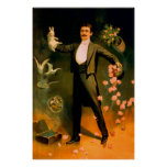 Vintage Magician Rabbits Roses Doves Magic Tricks Poster