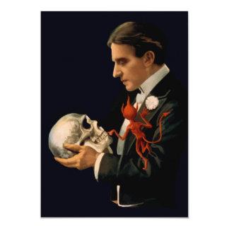 Vintage Magician Thurston holding a Human Skull 13 Cm X 18 Cm Invitation Card