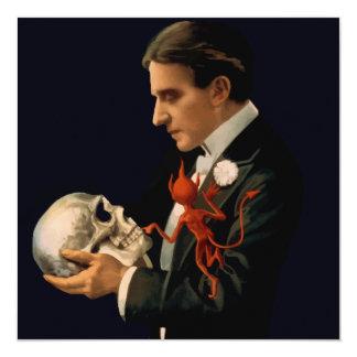 Vintage Magician Thurston holding a Human Skull Custom Invite