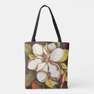 Vintage Magnolia Flowers Plant With Seeds Tote Bag