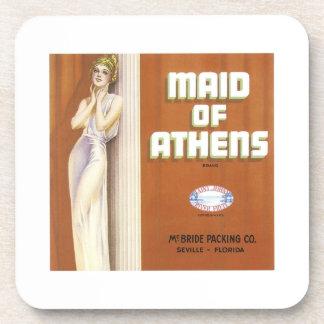 Vintage Maid of Athens Fruit Crate Label Beverage Coaster