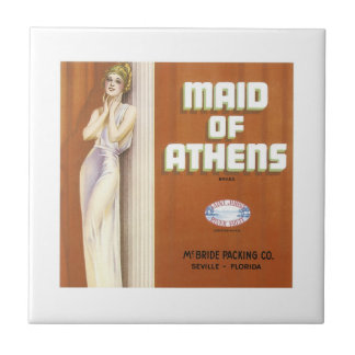 Vintage Maid of Athens Fruit Crate Label Small Square Tile