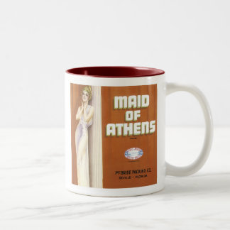 Vintage Maid of Athens Fruit Crate Label Two-Tone Coffee Mug