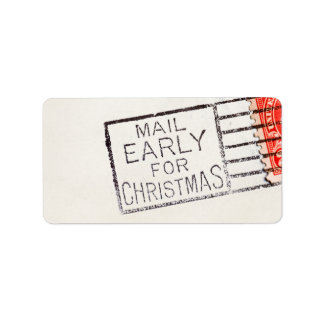 Vintage Mail Early For Christmas Cancelled Stamp Address Label