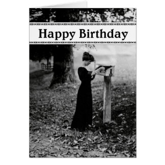 Vintage Mailbox Happy Birthday Black Card