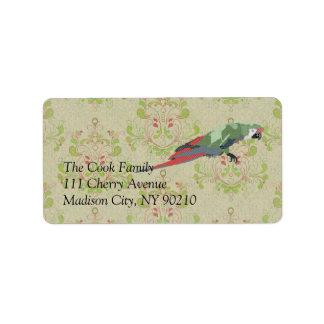 Vintage Majestic Macaw Label Address Label
