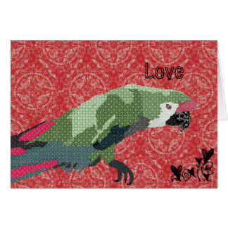 Vintage Majestic Macaw Red Love Valentine Greeting Card