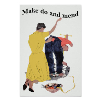 Vintage Make Do and Mend Poster Print