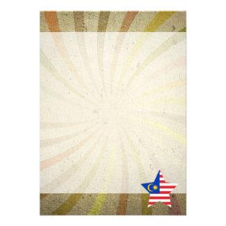Vintage Malaysian Flag Swirl 13 Cm X 18 Cm Invitation Card