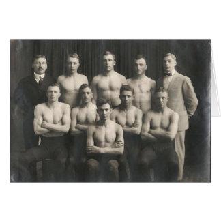 Vintage Male Wrestling Team Card