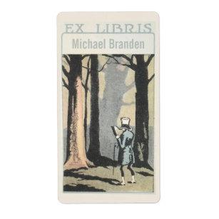 Vintage Man Reading In Woods Ex Libris Bookplate