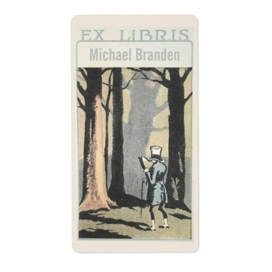 Vintage Man Reading In Woods Ex Libris Bookplate