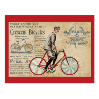 Vintage Man Riding Red Bicycle Postcard
