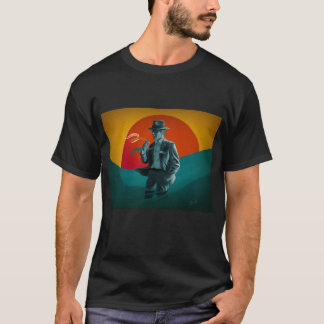 Vintage Man Smoking Black T-Shirt