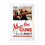 Vintage Man The Guns, Join the Navy Recruitment Po Postcards