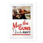 Vintage Man The Guns, Join the Navy Recruitment Po Postcards