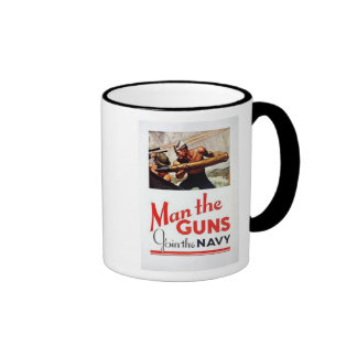 Vintage Man The Guns, Join the Navy Recruitment Po Ringer Mug
