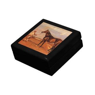 Vintage Man With Brown Race Horse Gift Box
