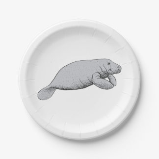 Vintage Manatee Drawing Paper Plate
