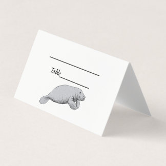 Vintage Manatee Drawing Place Card
