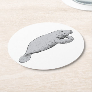Vintage Manatee Drawing Round Paper Coaster