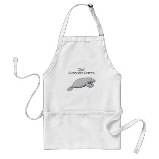 Vintage Manatee Drawing Standard Apron