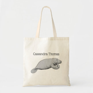 Vintage Manatee Drawing Tote Bag