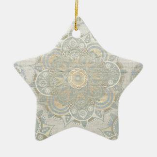 Vintage mandala ceramic star decoration