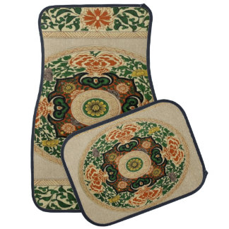 Vintage Mandala Floral Leaf Set of 4 Car Mats