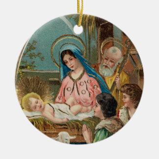 Vintage Manger Scene With Children Ceramic Ornament