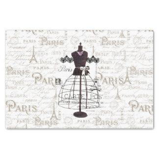 Vintage mannequin French typo Paris Eiffel Tower Tissue Paper